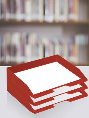 plastic desktop letter tray stacking mesh desk file storage shelving paper document A4 solid red
