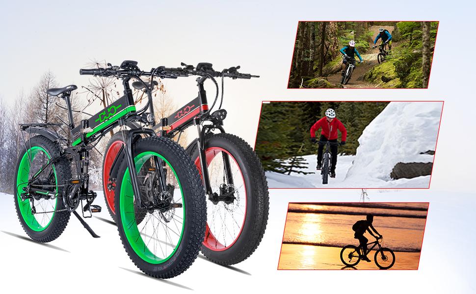GUNAI Bicicleta el/éctrica de monta/ña 26 1000W Bater/ía 48V E-Bike Sistema de Transmisi/ón de 21 Velocidades con Linterna con Bater/ía de Litio Desmontable
