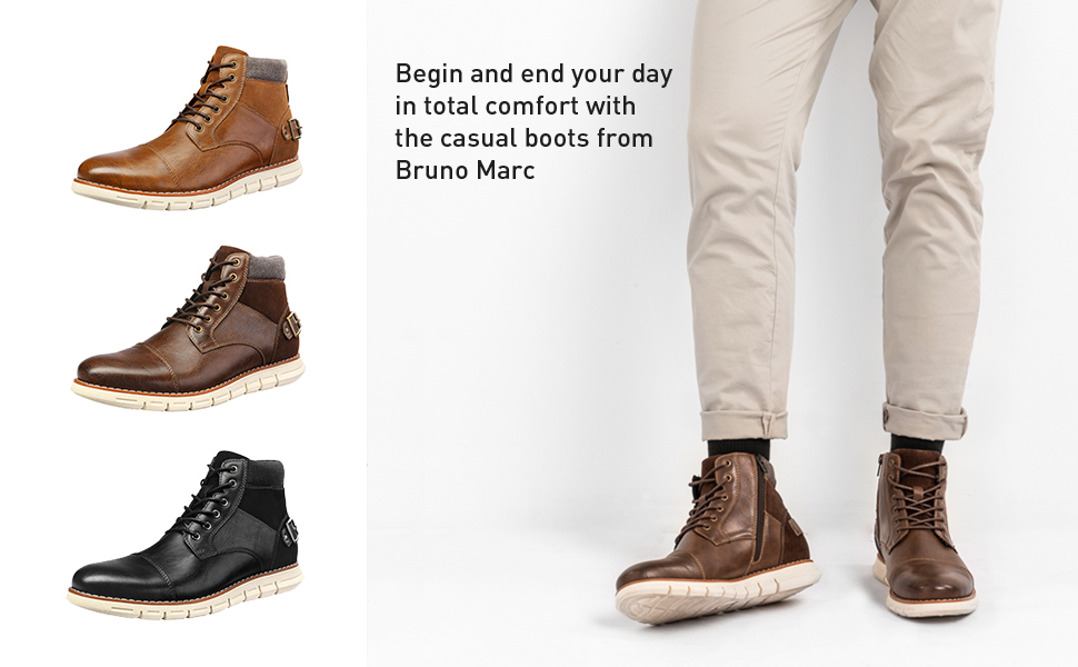 Casual mid-top boots design features sport technology in the heel for shock absorption