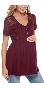 Maternity shirts lace peplum tops pregnancy maternity tunic blouses casual pregnancy clothes