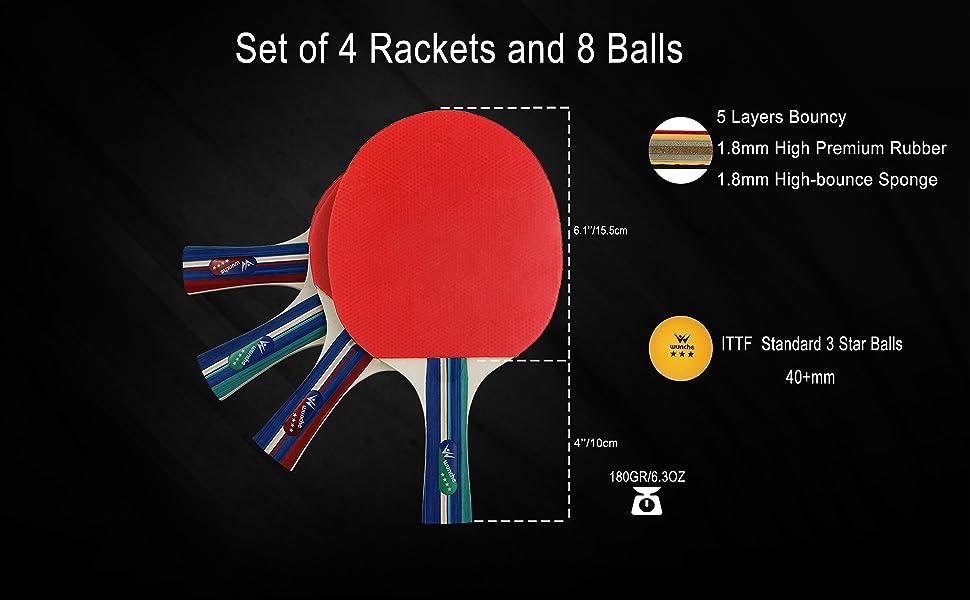 ping pong paddles 4 pack