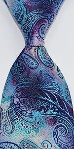 paisley turquoise purple tie