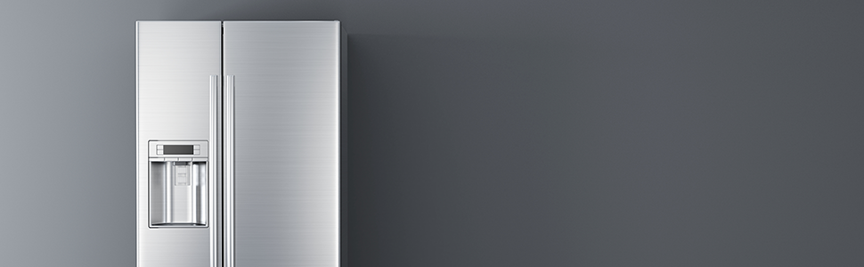 Refrigerator on a gray background