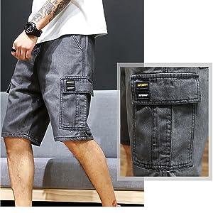 high waisted shorts denim denim cargo shorts men multi pocket men shorts denim shorts men below knee