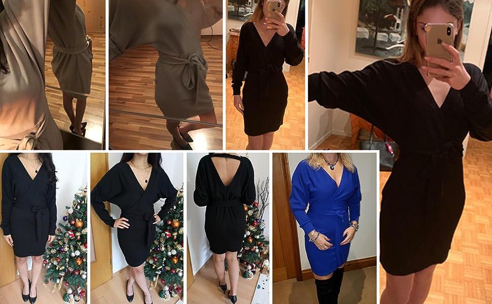 Yidarton Womens Jumper Dress Knitted Dress Sweater Dress Elegant V Neck Backless Long Sleeve Tunic Dress with Belt