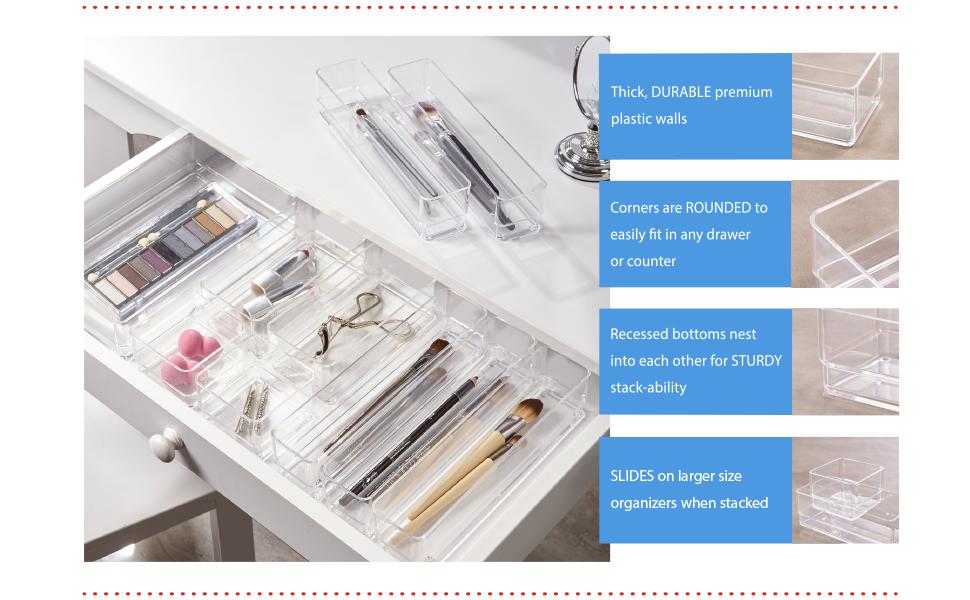 STORi clear plastic drawer organizers