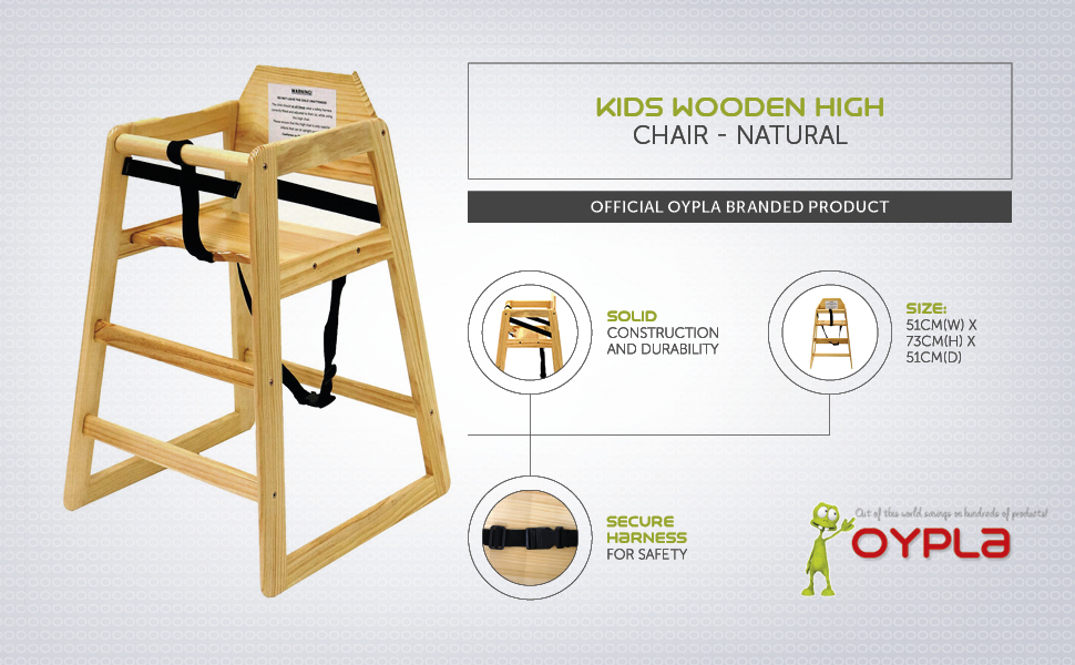 Oypla Stackable Kids Baby Wooden Feeding Commercial Home High Chair Natural