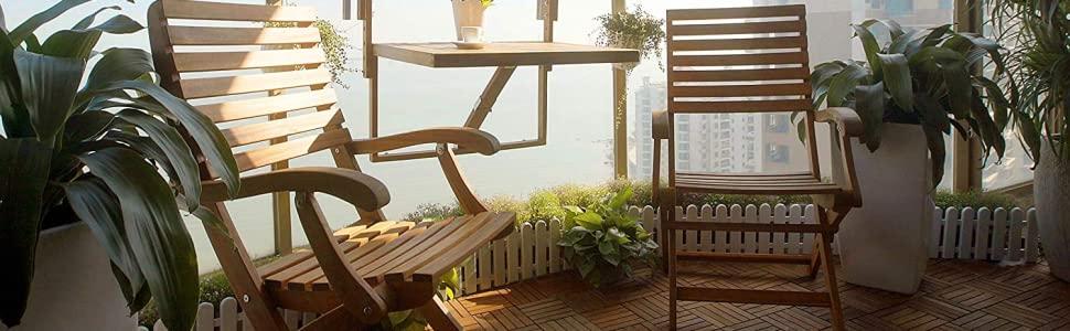 INTERBUILD Toronto Mesa de terraza Plegable para balcón Ajustable FSC Madera de Acacia Color Teca Dorado 70 x 60 CM: Amazon.es: Jardín