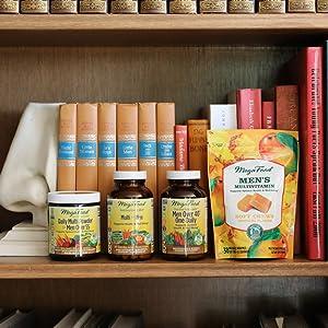 Photo of Men's Multivitamins on a bookshelf