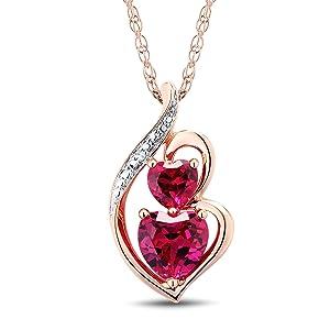 Details about  /Stunning Ruby Gemstone Cushion Shape Jewelry 10k Rose Gold Pendant