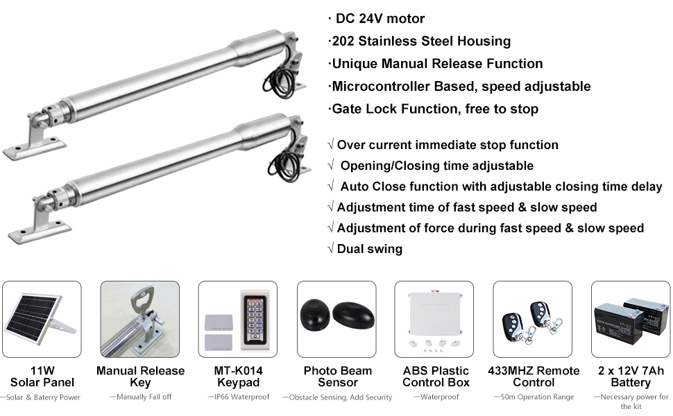 DC House EM3 Automatic Solar Gate Opener Kit with Waterproof ...