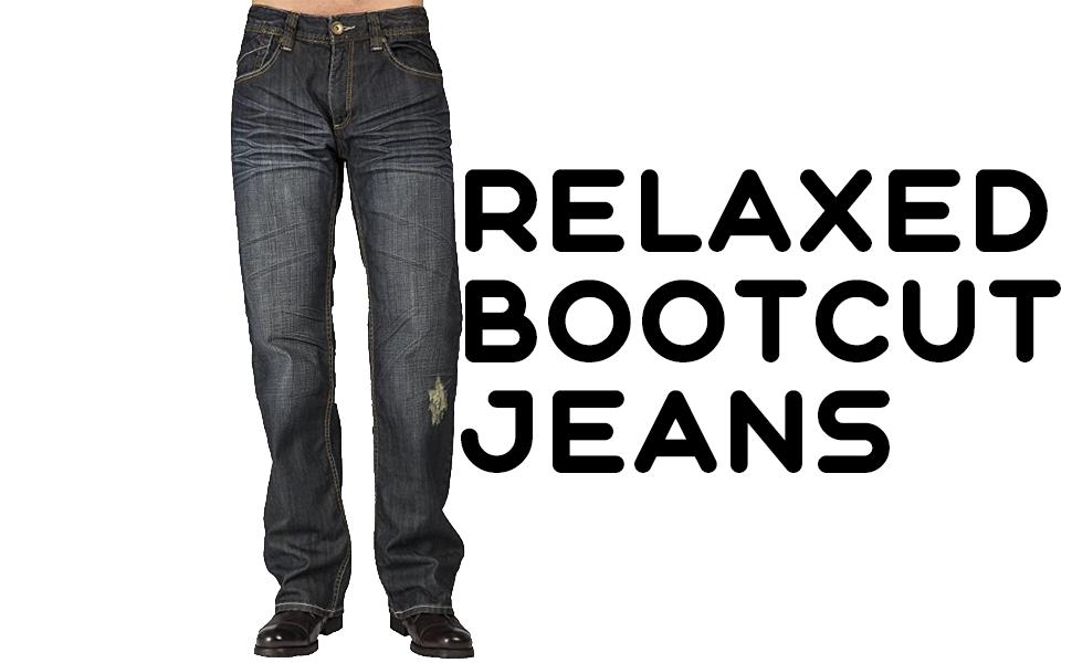 Level 7 Mens Midrise Relaxed Straight Medium Vintage Blue Premium Denim Jeans