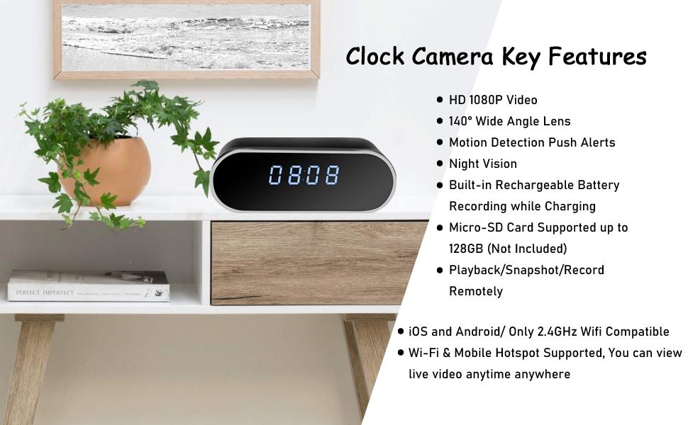 clock camera, hidden camera, spy camera, security camera, mini camera, wifi camera, wireless camera