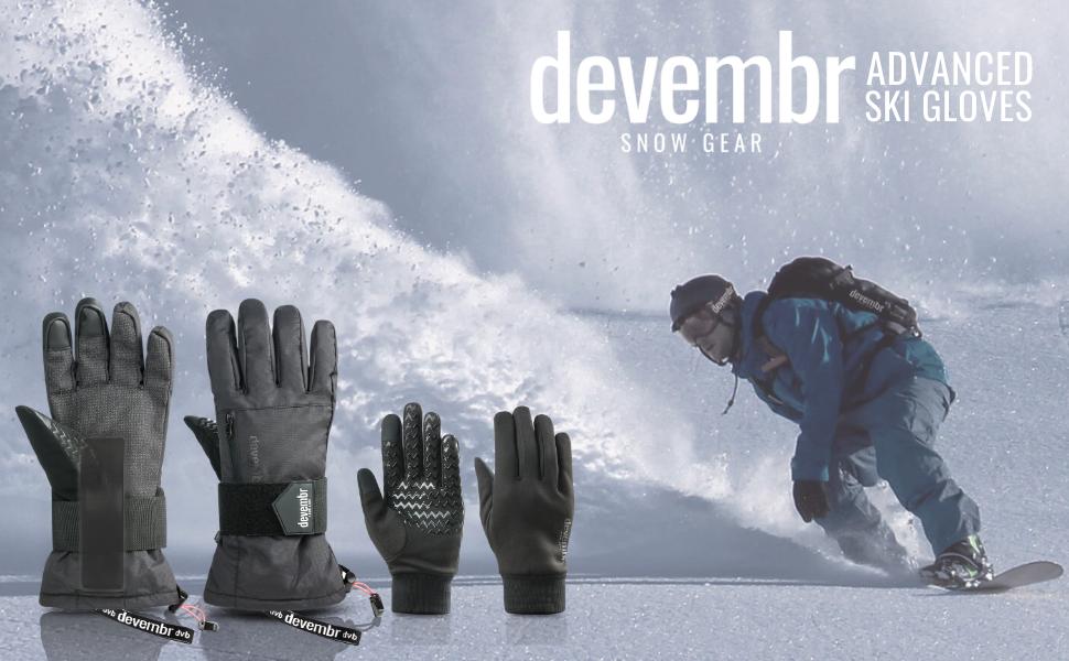 devembr Warm Snowboard Gloves with Wrist Guard Ski Gloves Waterproof XS//S//M//L