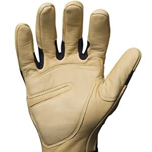 Palm is covered with premium goatskin that is durable as well as heat and abrasion resistant