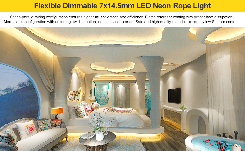 Shine Decor LED Neon Rope Light 3000K Warm White LED Neon Strip