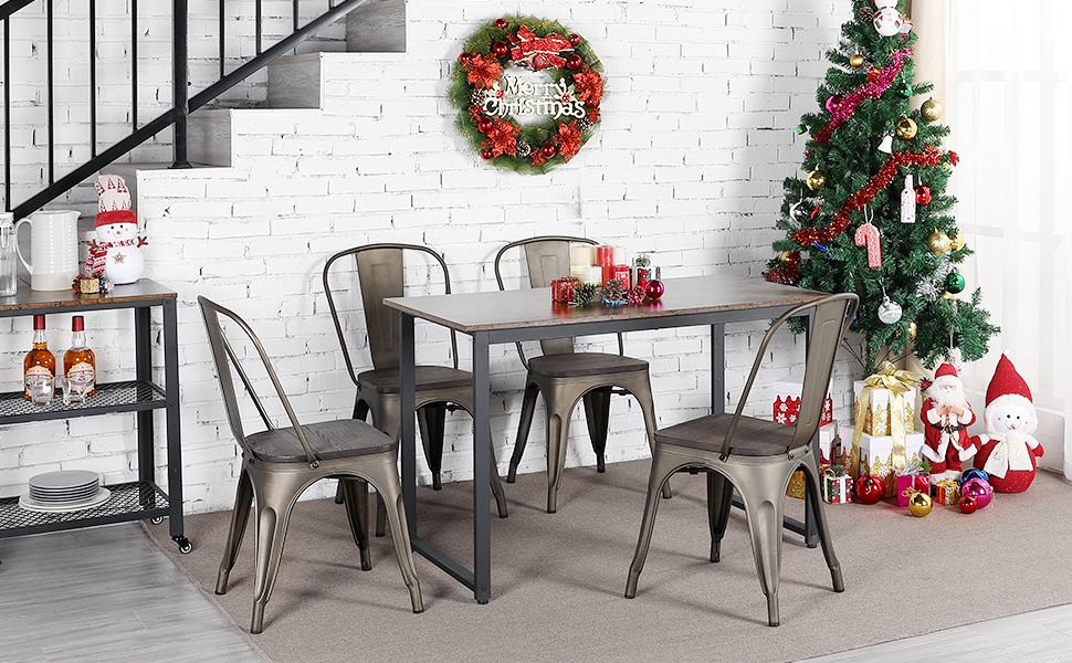 Surprising Yaheetech Metal Dining Chairs With Wood Seat Top Stackable Side Chairs Kitchen Chairs With Back Indoor Outdoor Classic Chic Industrial Vintage Bistro Gmtry Best Dining Table And Chair Ideas Images Gmtryco