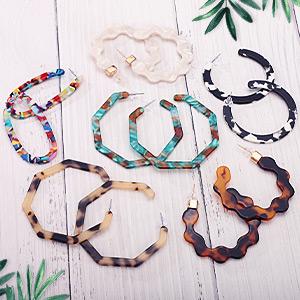 Polygonal Bohemian Fashion Jewelry Earrings for Women Girls Mottled Acrylic Resin Dangle Earring