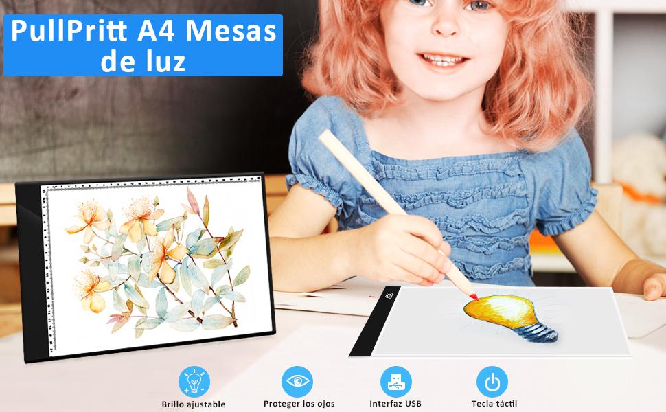PullPritt Mesa de Luz de Dibujo,LED A4 Tableta de Luz Tablero de ...
