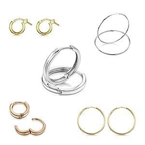 Amberta Fine 925 Sterling Silver Pair of Round Hinged Hoops Sleeper Earrings Diameter 10 20 45 65 mm