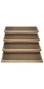 House Home And More Stair Treads Carpet Attachable Steps Safety Pet Friendly Toffee Brown