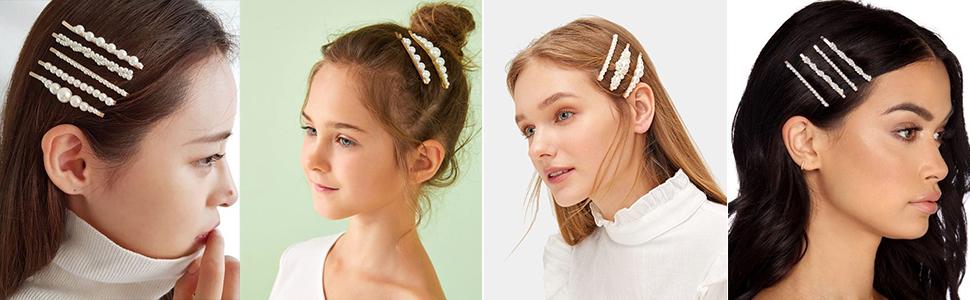pearl hair clips gold