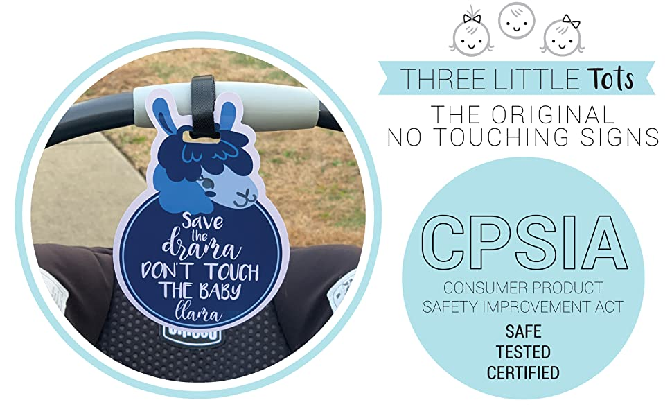 Blue Llama THREE LITTLE TOTS Animal Theme No Touching Baby Car Seat Sign or Stroller Tag CPSIA Safety Tested