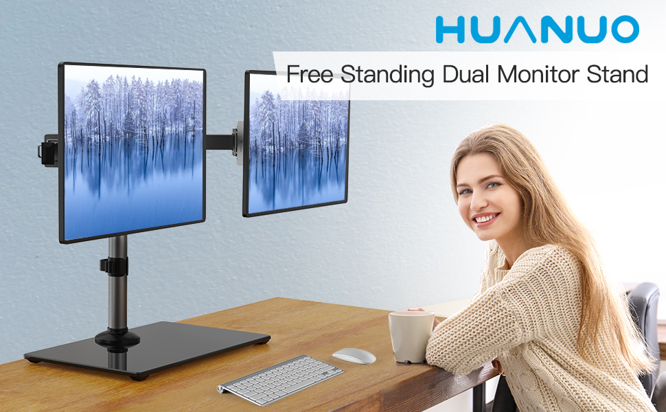 UPGRADE YOUR WORK STYLE WITH HUANUO HNCM19 FREE STANDING DUAL MONITOR STAND WITH GLASS BASE!