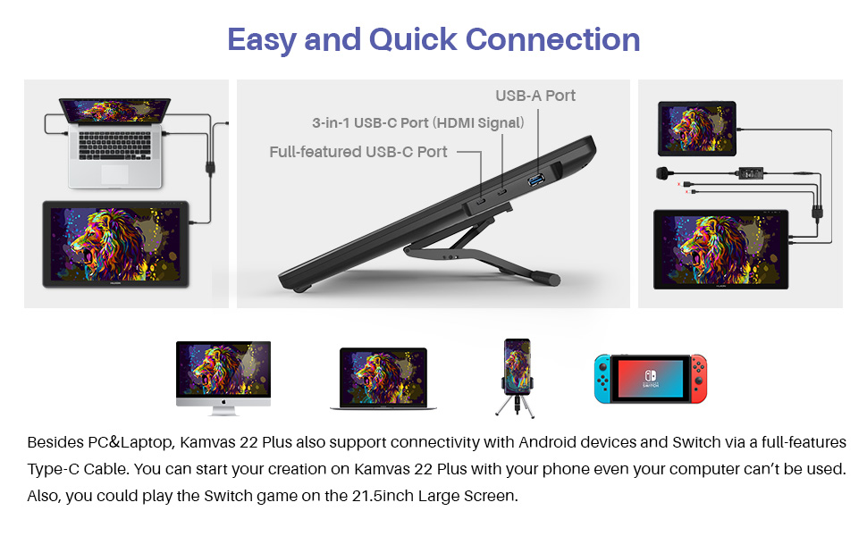 Kamvas 22 Plus Easy and quick connection method