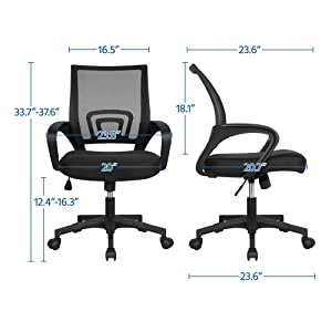 2 - Yaheetech Office Chair Mid Back Swivel Lumbar Support Desk Chair, Height Adjustable Computer Ergonomic Mesh Chair With Armrest Black, 2-Pack