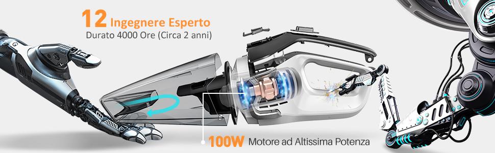 Autonomia 30min Aspirabriciole Senza Filo Carica Rapida 3-5 Ore HOMASY Aspirabriciole Portatile Potente 100W Max Facile Portatile per Casa/