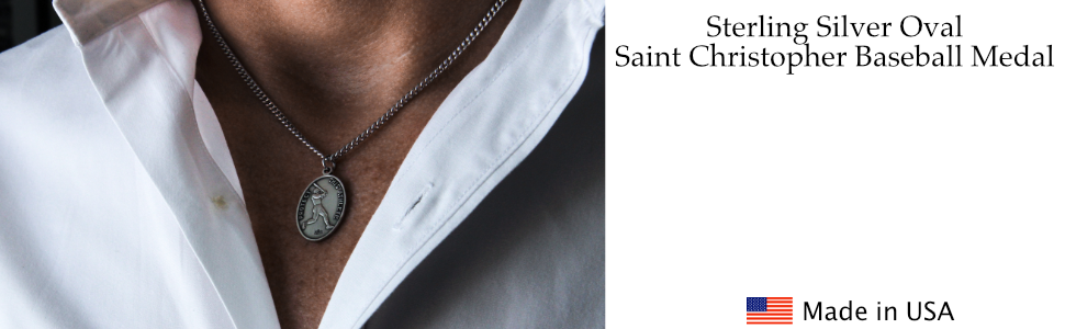 Sterling Silver Oval Baseball Medal Necklace Pendant Saint Christopher Sports Men's Religious