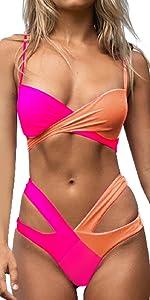 costume da bagno donna push up imbottito reggiseno bikini due pezzi set swimwear abiti da spiaggia