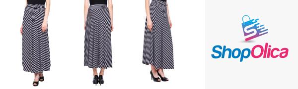 Women White & Black Stripe Elegant Skirt ShopOlica Women's Viscose Striped Skirts Casual