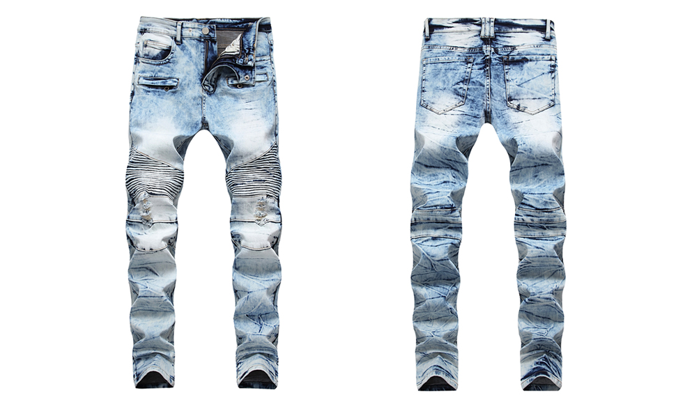 biker skinny jeans for men ripped distressed slim fit hip hop holes straight