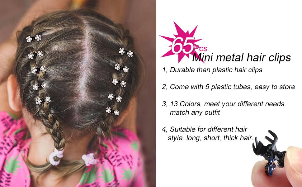 65 pcs mini metal hair clips