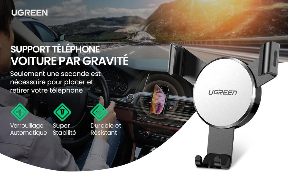 support téléphone voiture à grille d'aération système de gravité