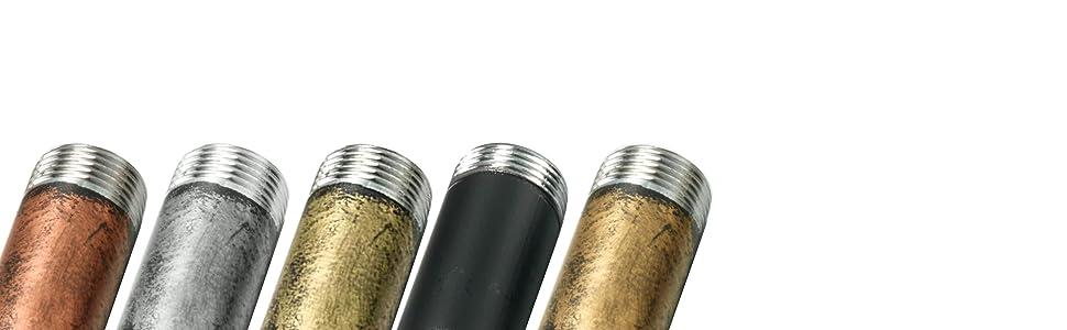Five unique pipe bracket shelf color variations