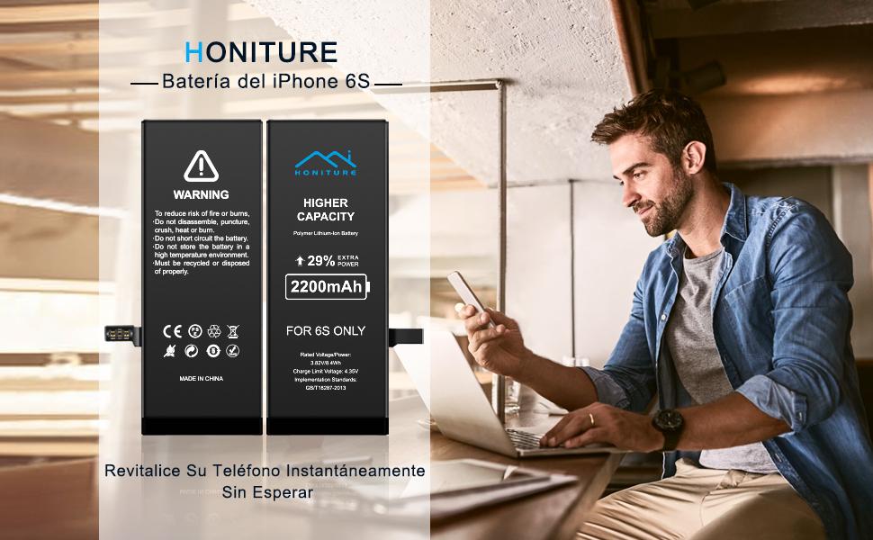 Batería iPhone 6s de Alta Capacidad 2200mAh, Recambio iPhone 6S ...