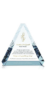 Personalized Crystal Christian Appreciation or Retirement Gift Plaque for Music Minister