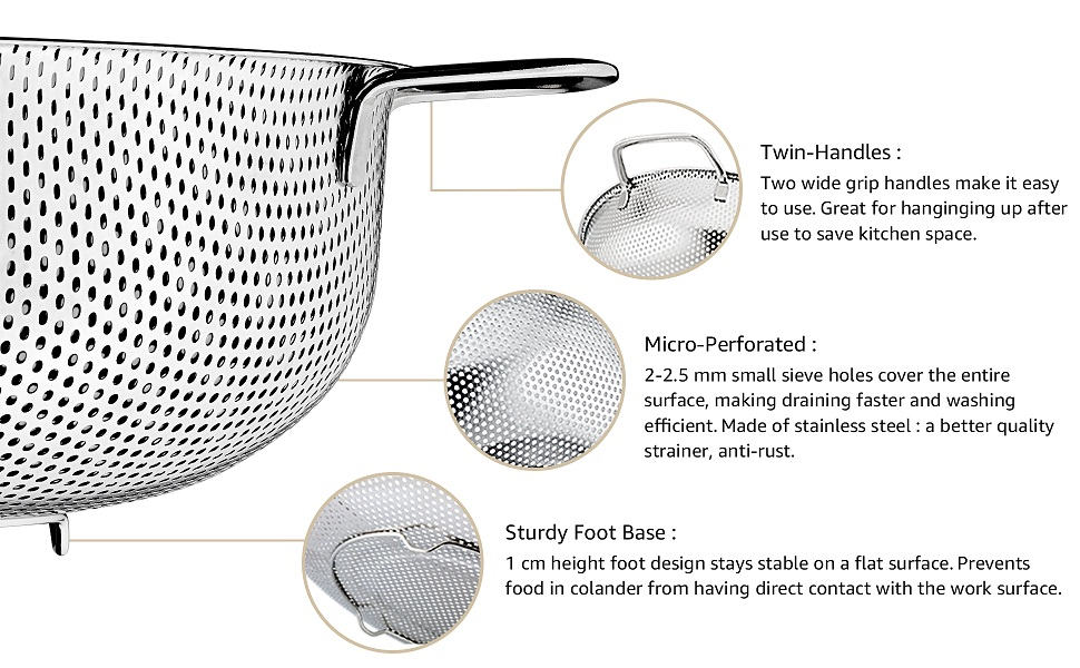 Twin Handles, Micro Perforated, Sturdy Foot Base, easy to use, draining faster and washing efficient