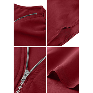 zipper v neck blouse for women