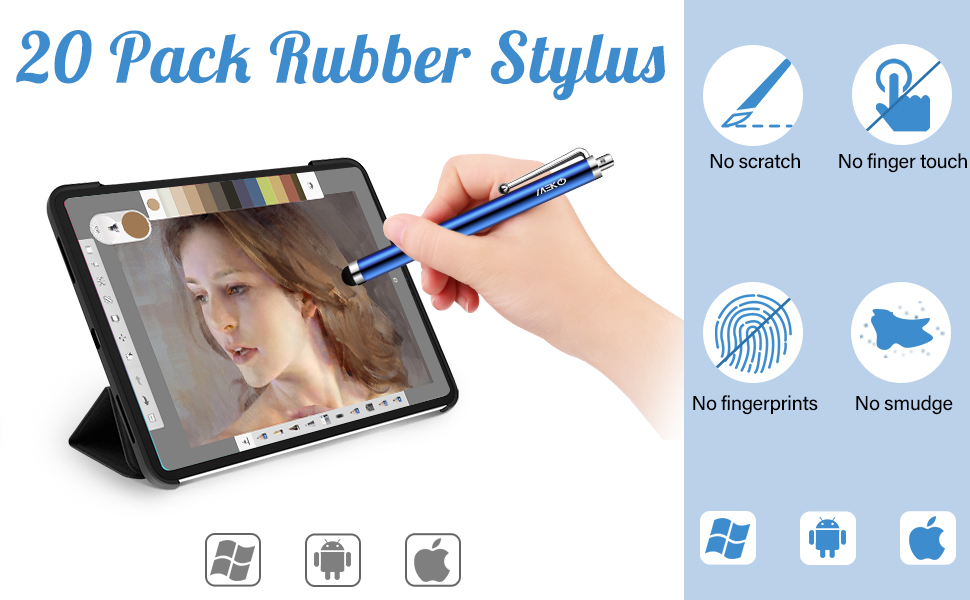 20 pack rubber stylus
