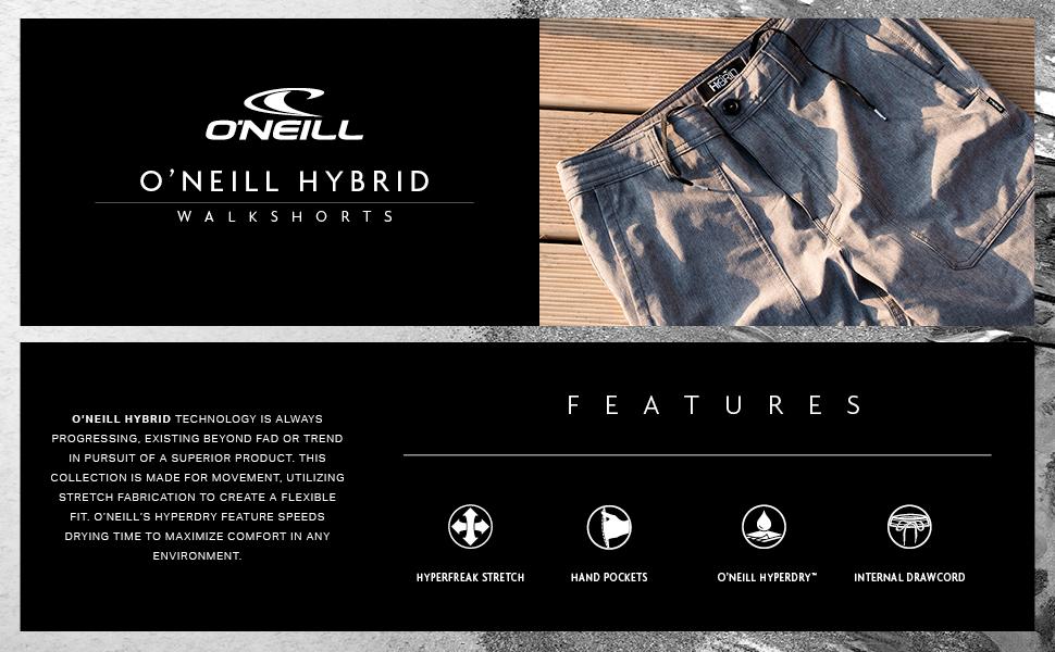 ONEILL Mens 18 Inch Outseam Hybrid Stretch Walk Short