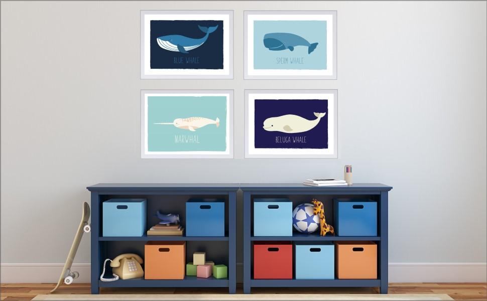 Coastal Decor Narwhal decor Nursery Beach Decor Bathroom Organizer Beach bathroom decor