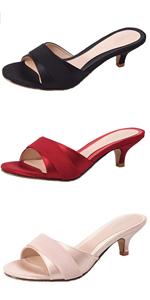 Kitten Heel Slip On Sandals for women