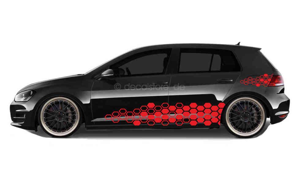 Außenklebend Wabenmuster R-Line Auto Aufkleber Stripes Sticker Linien