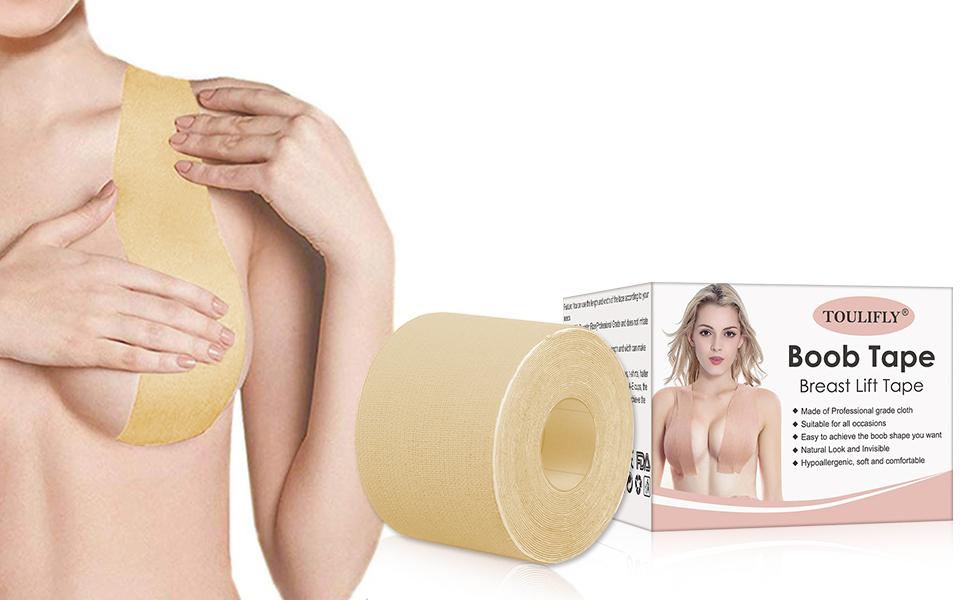 Toulifly Nastro Sollevamento Seno,Nastro Adesivo Reggiseno,Per Prevenire il Rilassamento Cutaneo,Con 10 Pezzi di Adesivi per Capezzoli Circolari in Tessuto Non Tessuto