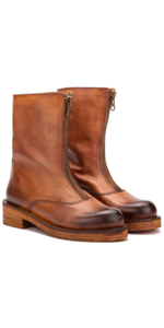Vintage Foundry Co. Dallas Women's Rugged Casual Leather Zip-up Mid-Calf Boots