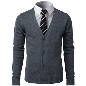 Beloved Mens Casual Slim Fit Lightweight Long Sleeve V Neck Button Front Solid Cardigan